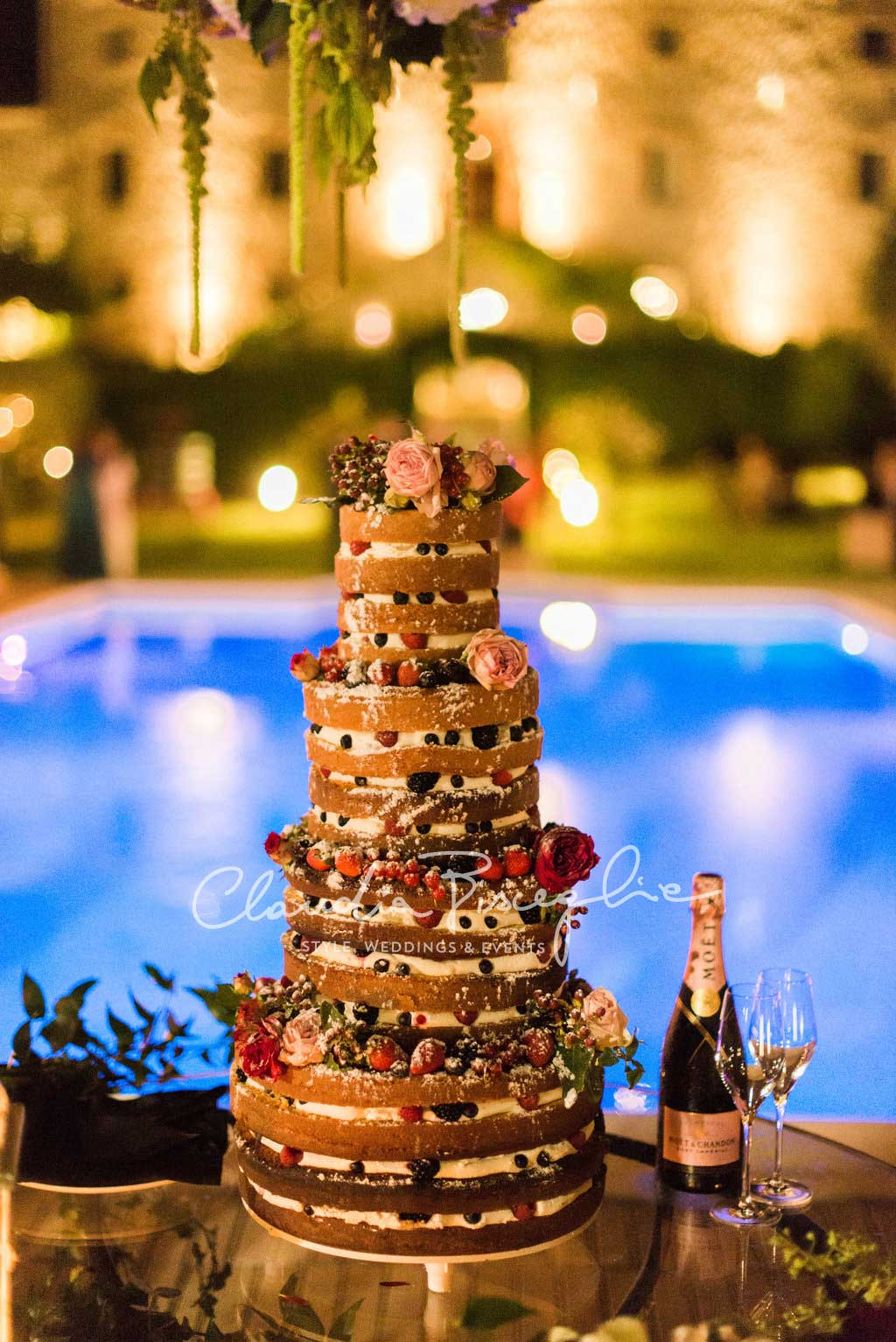 -Naked-Wedding-cake-fruit-strawberrypetal-roses-luxury-wedding